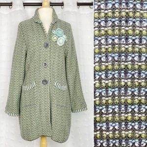 Sigrid Olsen blue & green knit cardigan coat LP